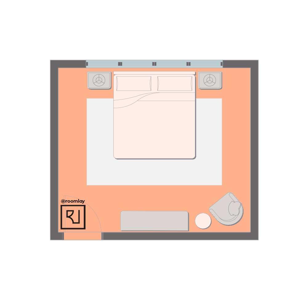 Bed in front of the window floor plan.