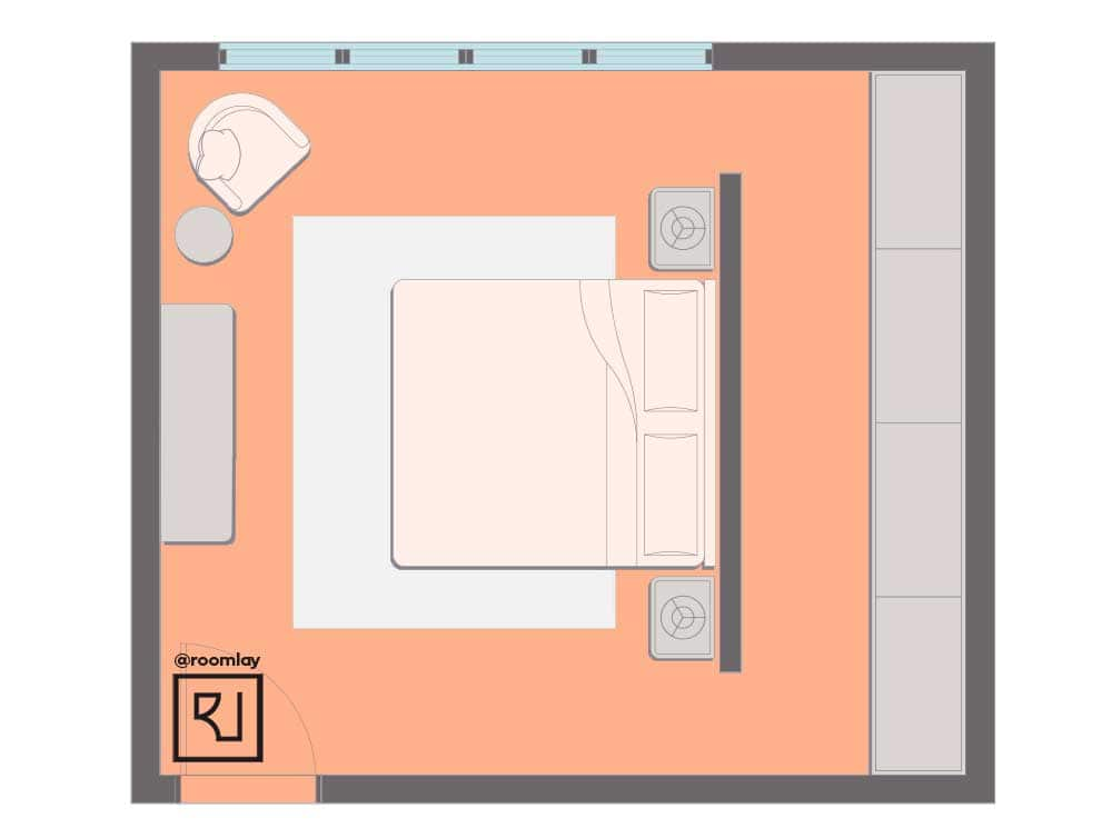 Bed as an island in the middle of the room layout.