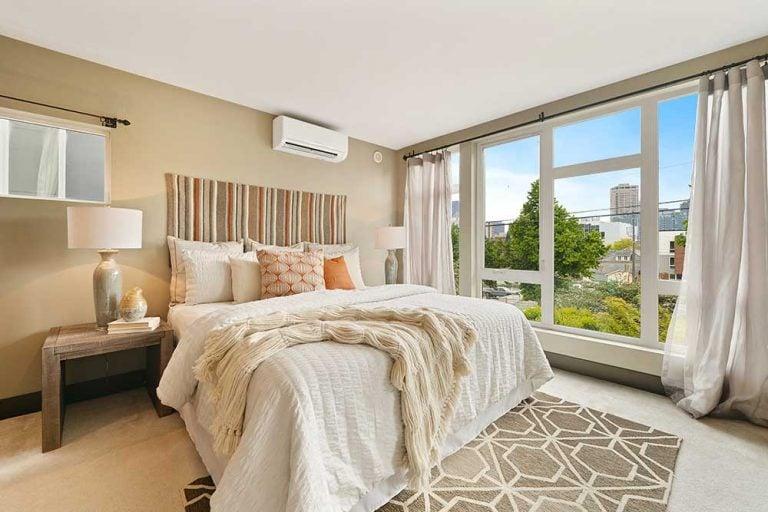 Example of best way to position bed in bedroom.