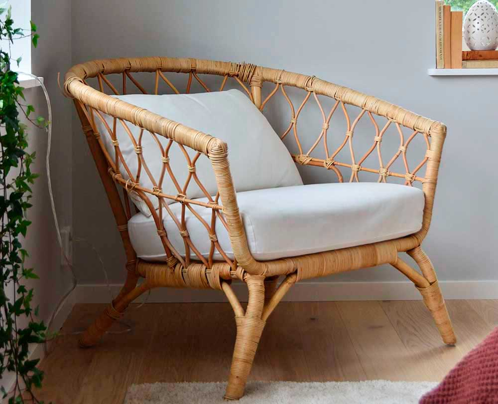 Bohemian rattan chair in the corner of the room