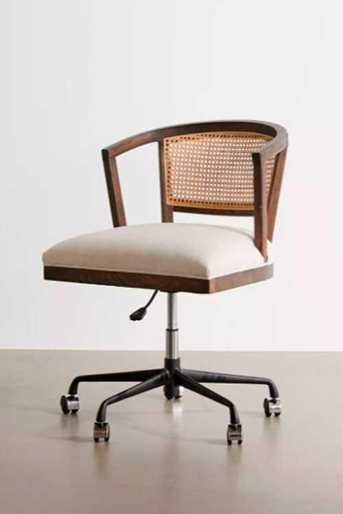 Boho swivel wooden desk chair