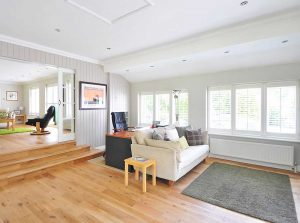 Example of making living room bigger with flooring