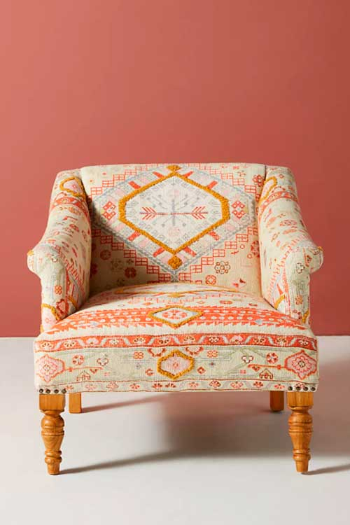 Colorful boho accent chair