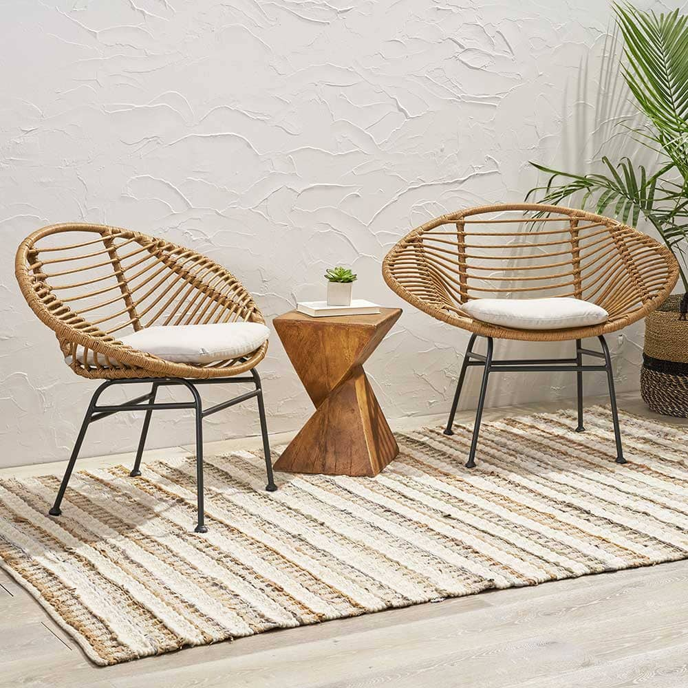 Outdoor woven wicker chairs