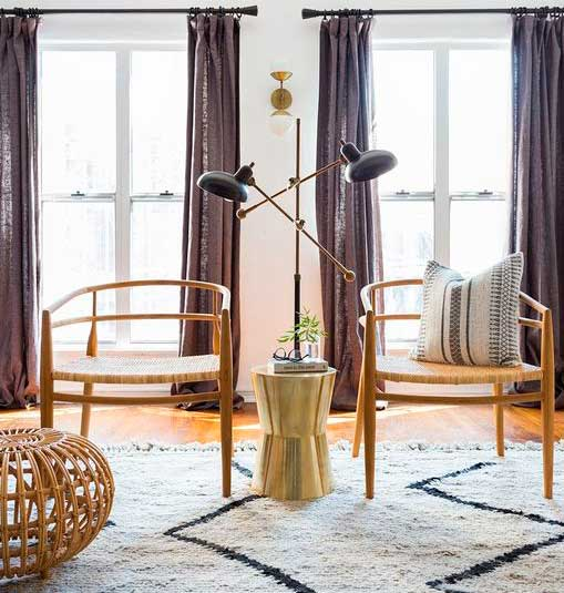 Accent chairs in the boho style living room.
