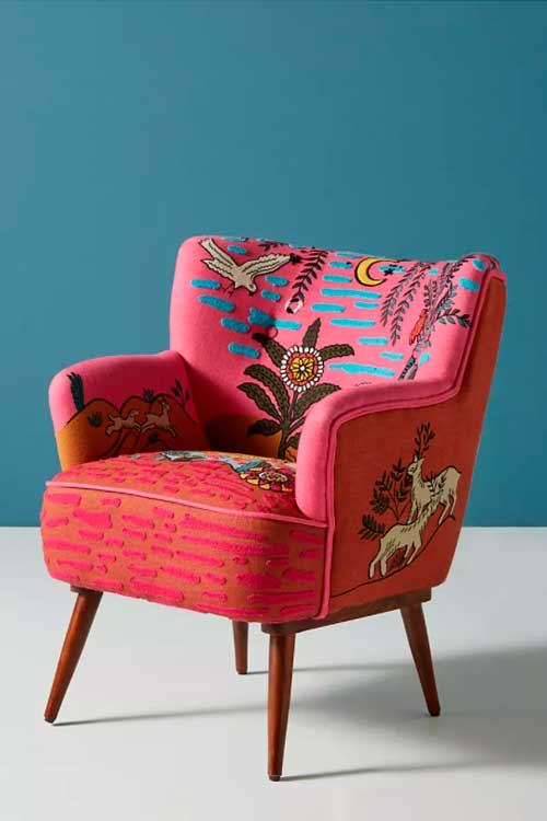 Bohemian fabric patchwork accent chair