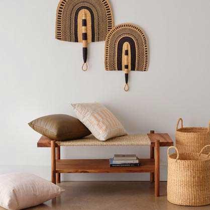 Artisan home decor woven handmade bench.
