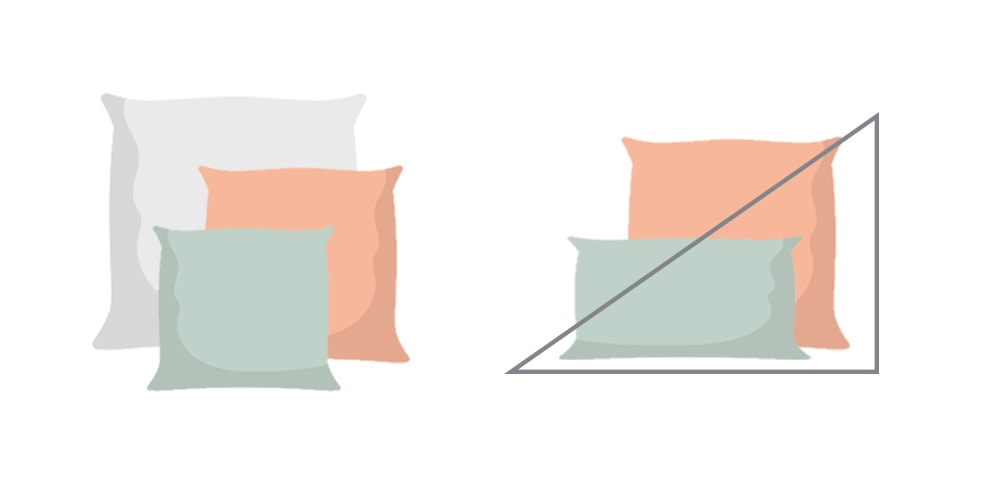 Asymmetry and triangle shapes pillow arrangement.