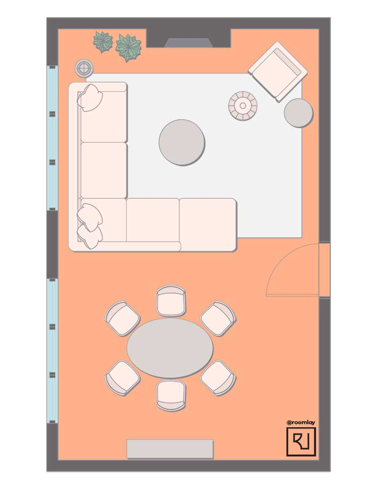 Living room floor plan with sectional as a divider.