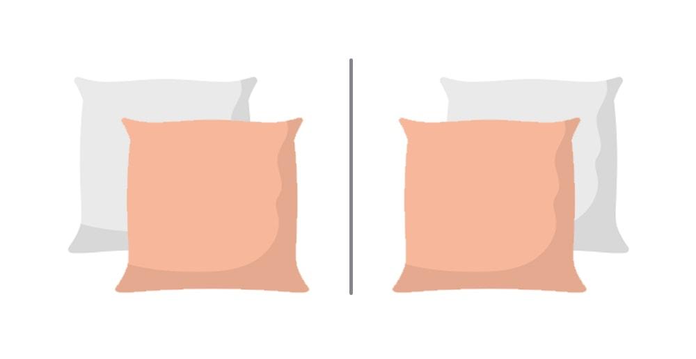 Mirror symmetry pillow arrangement.