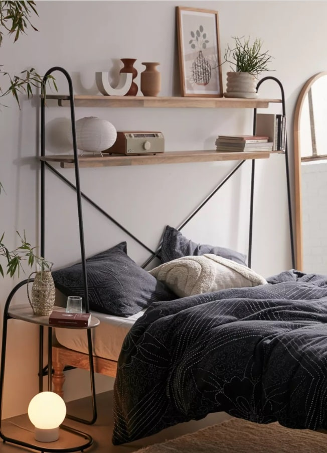 Over the bed metal storage shelf