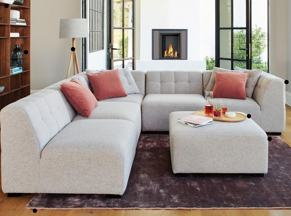 Sectional sofa with pouf