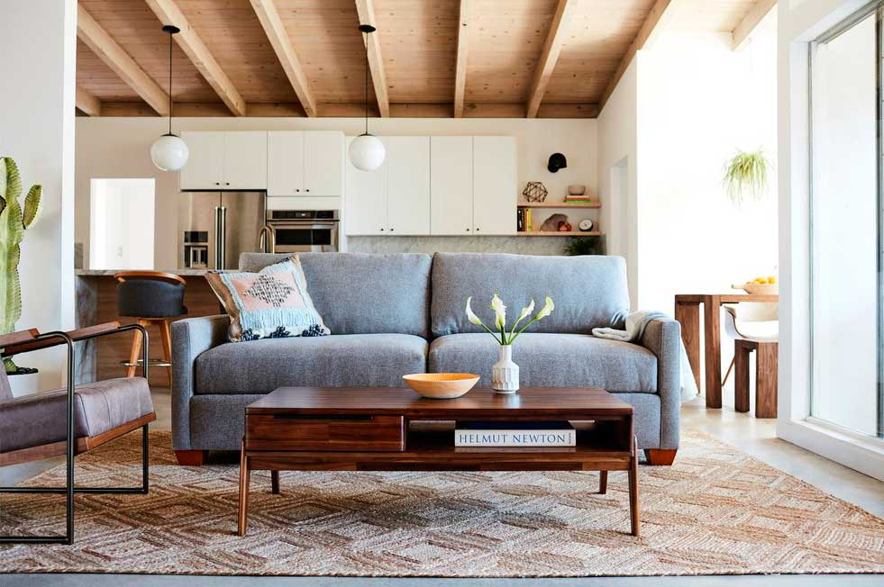 Sofa and coffee table with storage for small sized rooms.