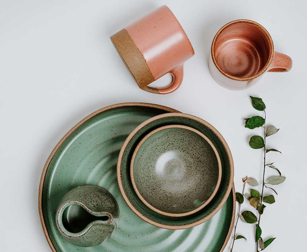 Green and pink artisan handmade kitchenware