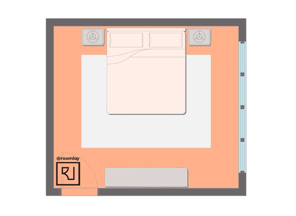 Bed against to wall floor plan, bed placement example.