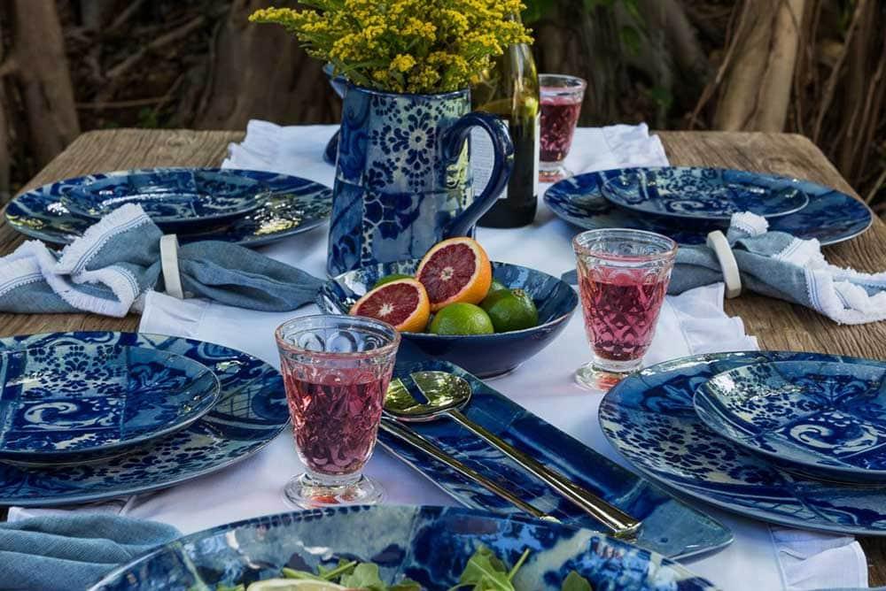 Blue handmade dining set