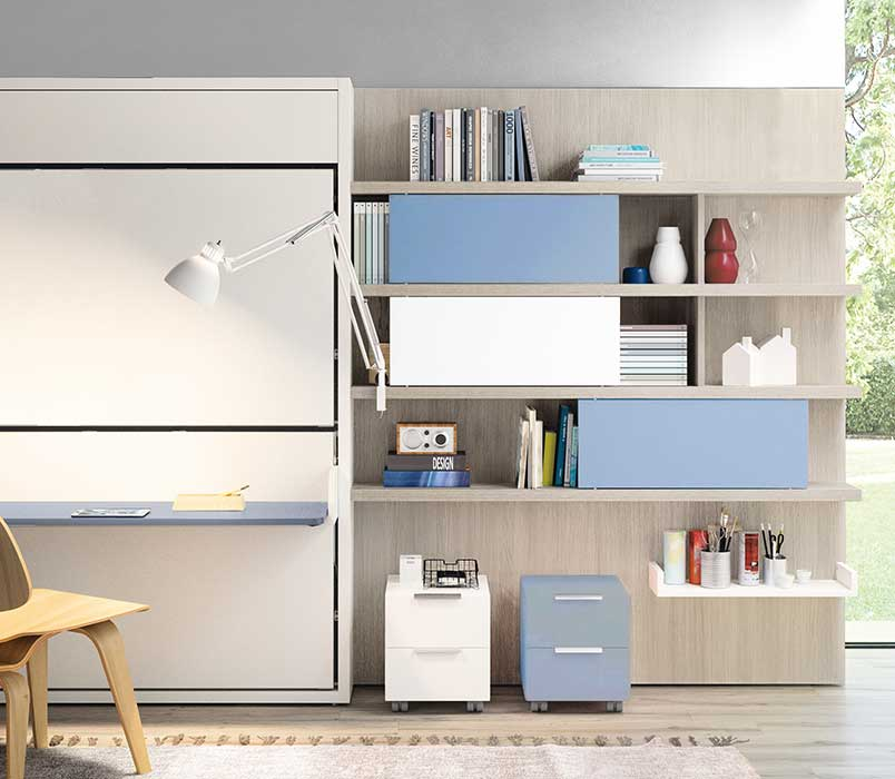 Desk with storage and bed unit