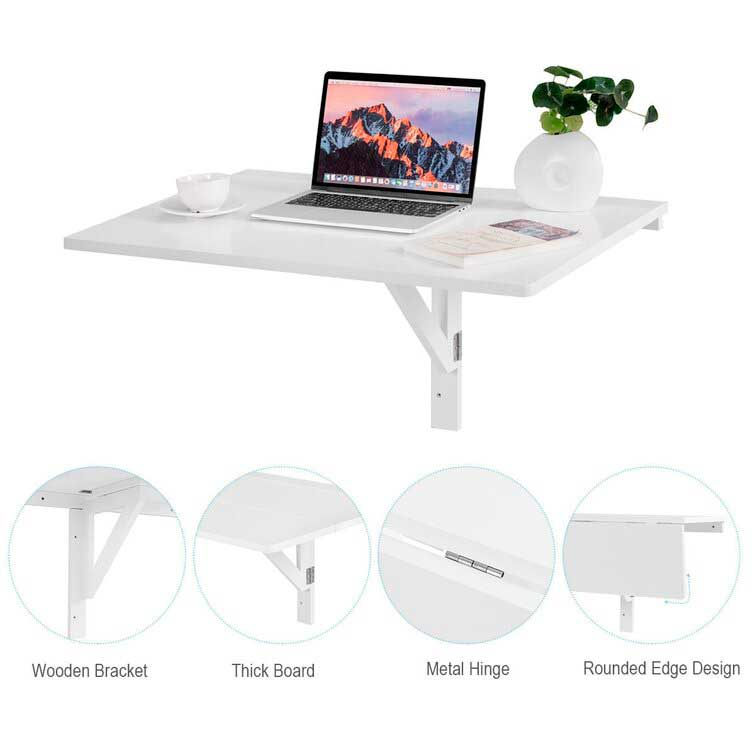 Space Saver Folding Wall-Mounted Drop-Leaf Desk