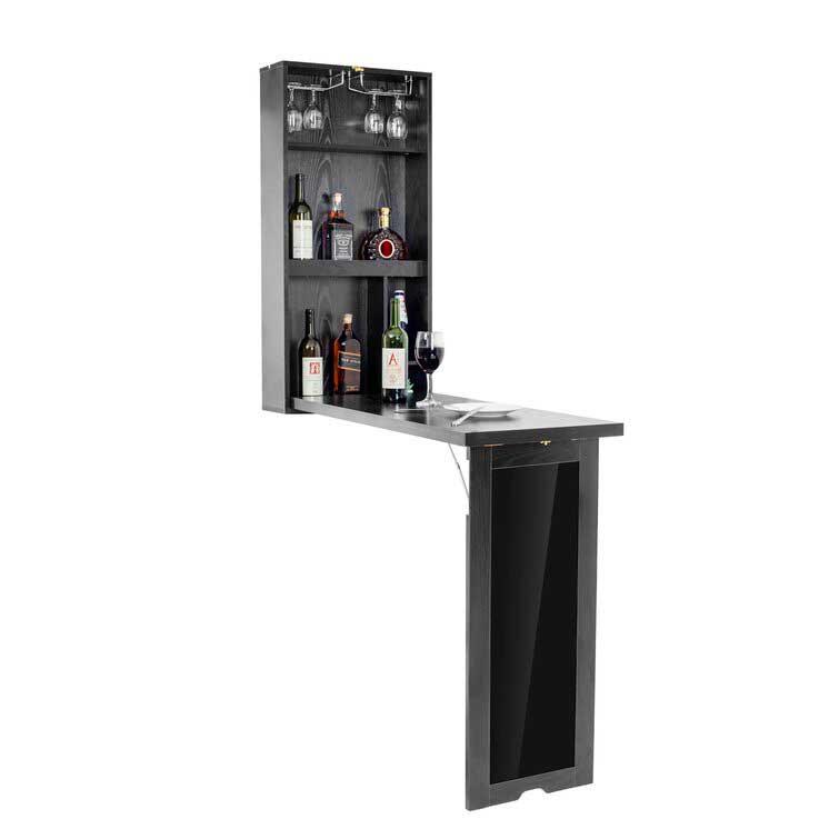 Black wall mounted bar table