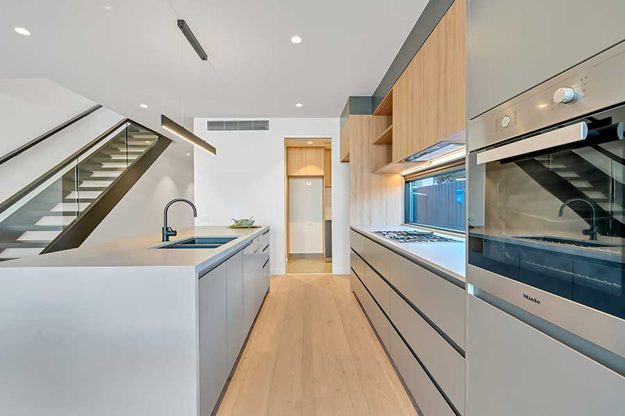 Galley kitchen layout example.