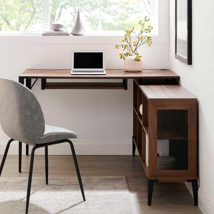 L-shaped industrial rustic desk