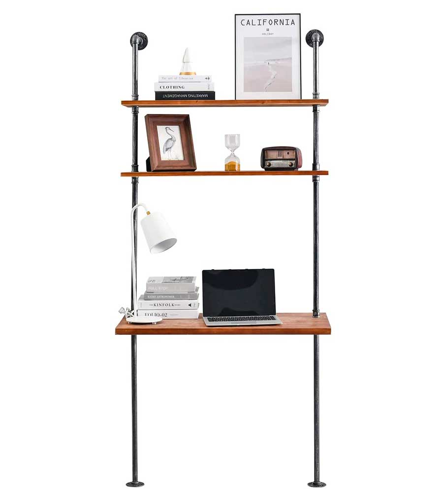 Industrial Laptop Desk with Storage Shelf, Iron Pipe Computer Table Rustic Wood Bookshelf, Wall Pipe Desk for Home Office