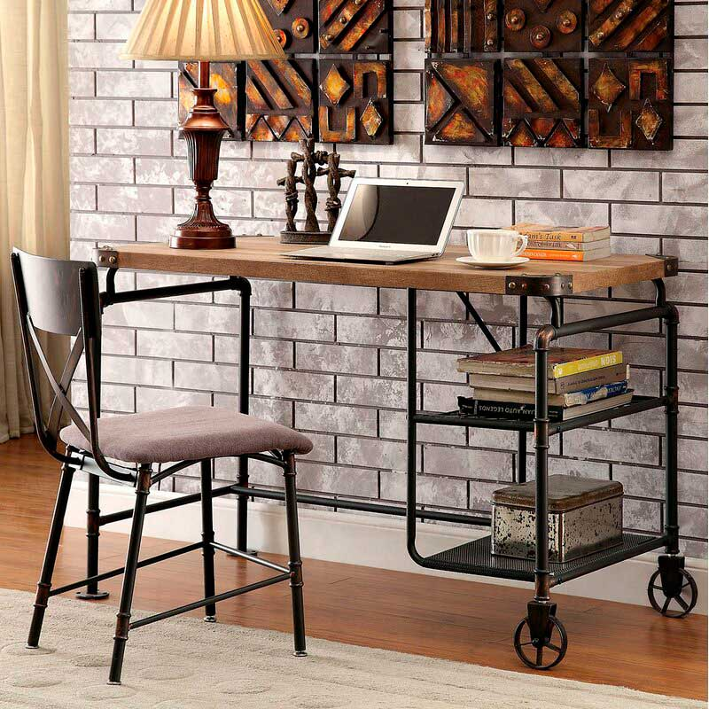 industrial style wooden and metal desk